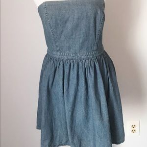 Free People Strapless Denim Mini Dress